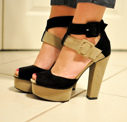 The Lovely Memoir: GoJane Lace Up Leatherette Platforms in Taupe