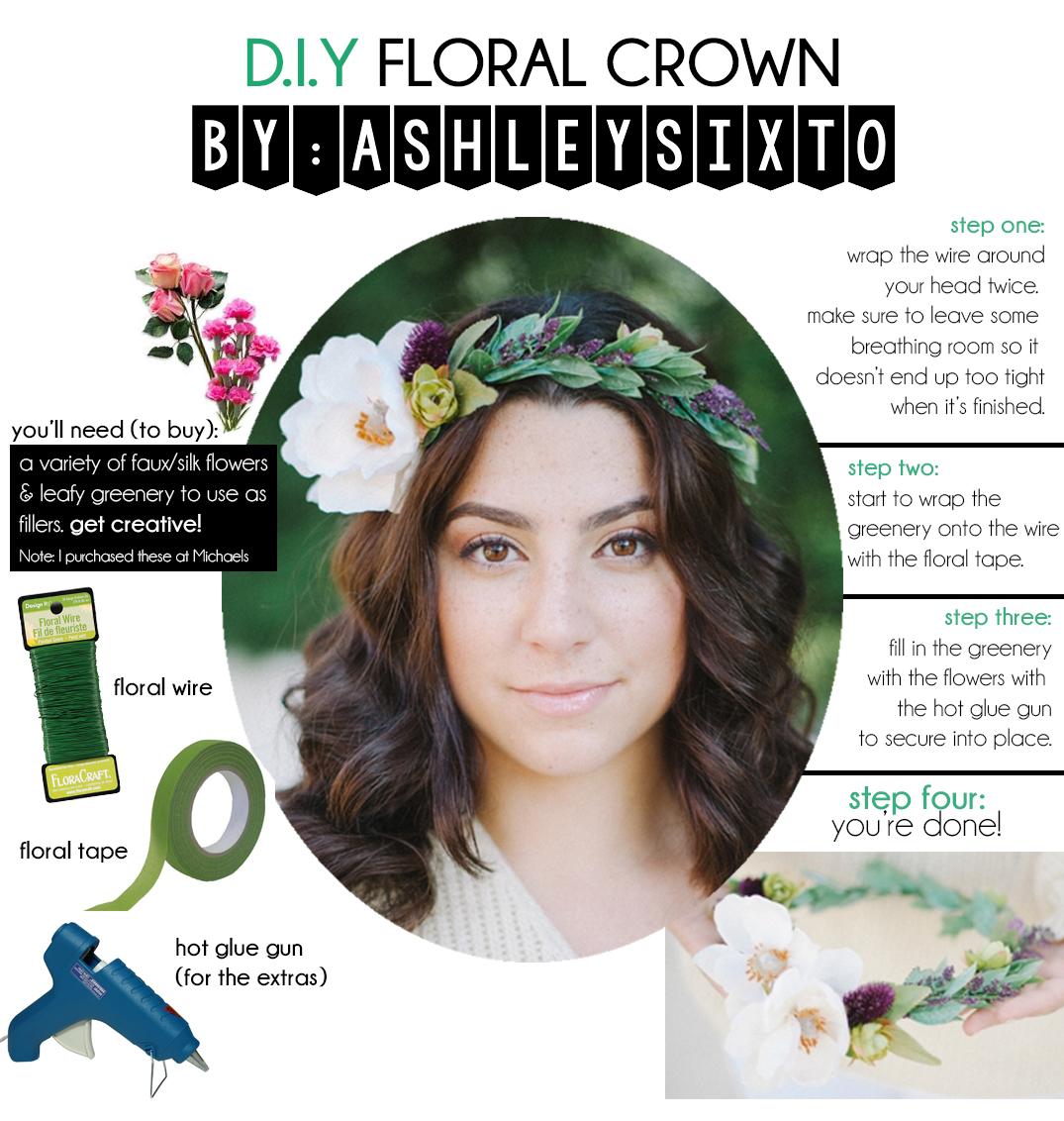 DIY FLORAL CROWN Ashleysixto flower crown flower headpiece
